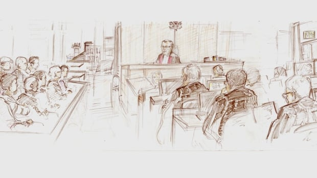 Justice John Walsh and jury at Dennis Oland's murder trial, sketch