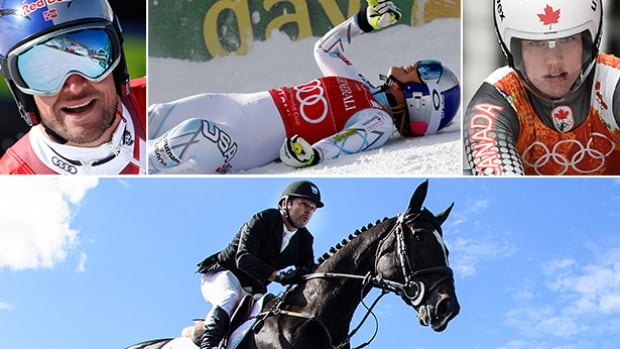 Clockwise from top left, Aksel Lund Svindal, Lindsey Vonn, Alex Gough, and Eric Lamaze will all be fseature on this weekend's Road to the Olympic Games.
