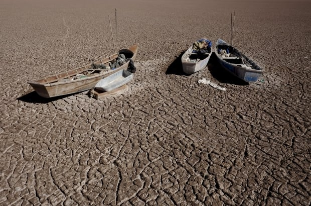 Boliva Lake Poopo dried lakebed Dec 17 2015 fishing boats