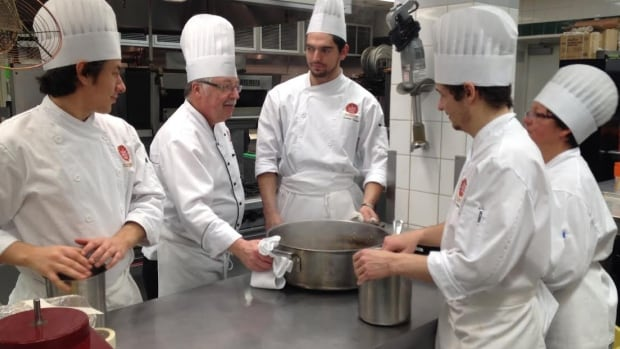 Chef Hans Anderegg teaches students how to make turkey stock at the Culinary Institute of Canada in Charlottetown, P.E.I.