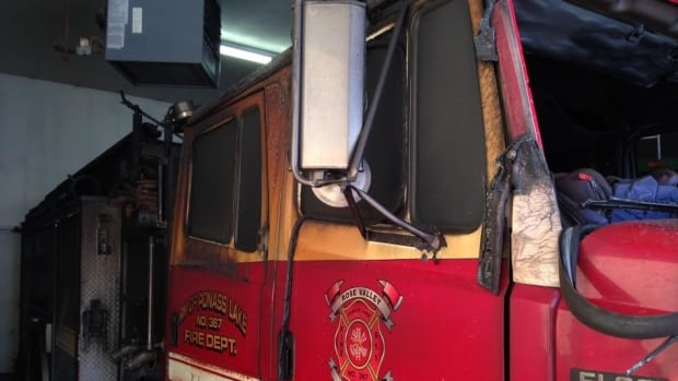 A damaged fire truck will be out of service until it is repaired and re-certified.