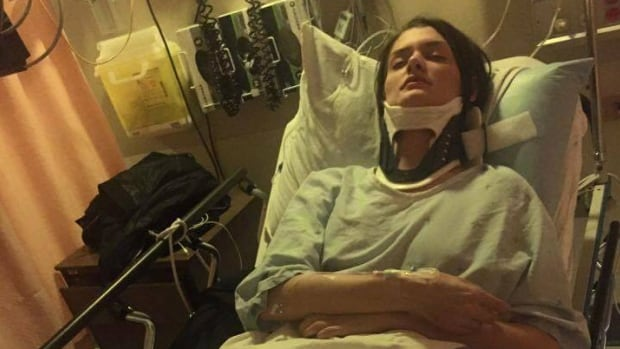 A photo posted to Katie Nelson's Facebook profile of her in the hospital after she says an undercover cop pushed her at a protest.