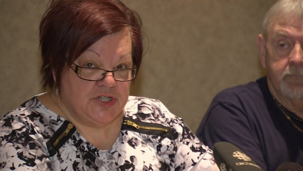 CUPE-NB vice-president Odette Robichaud addresses a news conference in Fredericton on Monday.