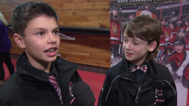 "Marco Peloso, left, and Carson Hicks play for the peewee Nepean Raiders hockey team and have been trying out the new ""Be Game Ready"" app for about a week."