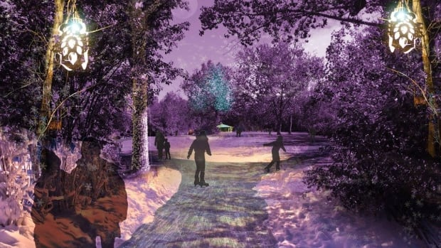 An artist's rendering of what skating along the new freezeway will be like. The 400-metre trail will make a figure-eight through the trees southeast of the Victoria speed Skating Oval.