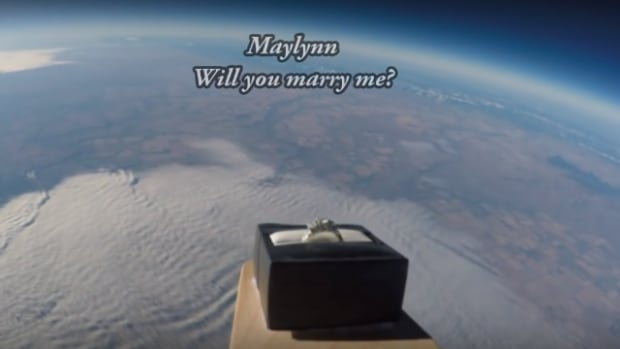 Over the course of a three-and-a-half-minute video, Shawn Wright showed his fiancée the enchanting trip her engagement ring took into the earth's stratosphere.