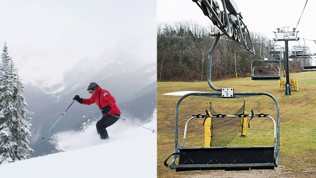 The skier on the left enjoys the slopes in Whistler, B.C., while ski resorts in Eastern Canada, meanwhile, such as the scene in Glen Eden, Ontario, are still waiting for snow.