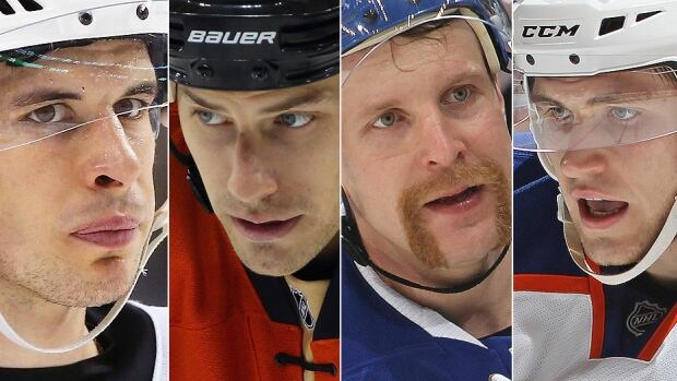 From left, the Penguins' Sidney Crosby, Ducks' Ryan Getzlaf, Maple Leafs' Leo Komarov and Oilers' Leon Draisaitl have made headlines this season for different reasons. Crosby and Getzlaf have combined for just seven goals in 61 games while Komarov has a career-high 15 goals in less than half a season and Draisaitl has been productive centring the top line with Taylor Hall and Teddy Purcell in Edmonton.