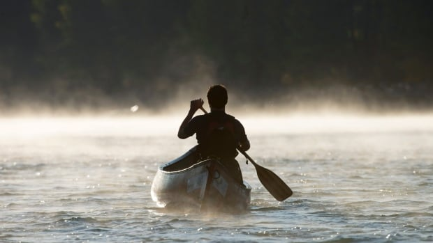 Justin Trudeau paddles a canoe down the Bow River, in Calgary, during the 2015 election campaign.