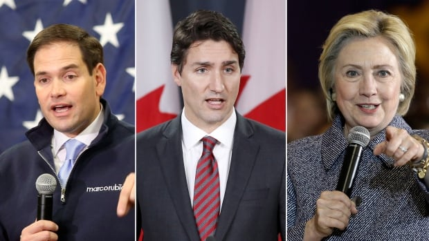 Prime Minister Justin Trudeau is set to visit the White House for a state dinner in the new year — the first such dinner for a Canadian prime minister in 19 years. Canada-U.S. relations moving forward will hinge on whether presumed eventual GOP candidate Marco Rubio, left, or presumed eventual Democrat candidate Hillary Clinton, right, assumes the presidency in 2016.