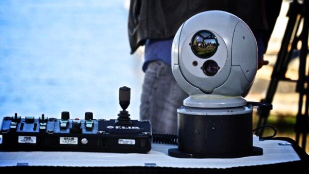 This high-tech camera uses forward looking infrared radiometer technology to detect heat.