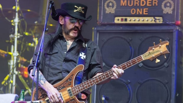 Motorhead bassist Lemmy Kilmister performs on the Pyramid stage during Glastonbury Music Festival on Friday, June 26, 2015 at Worthy Farm, Glastonbury, England.