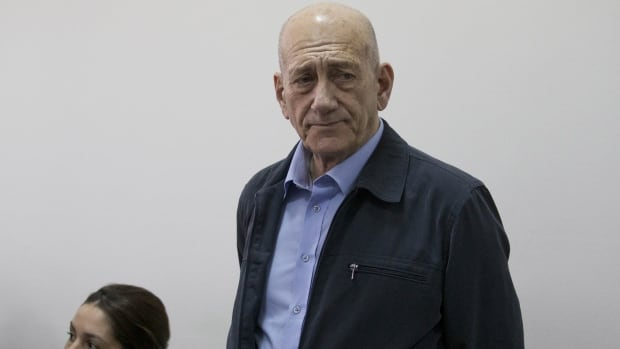 Former Israeli Prime Minister Ehud Olmert is shown during a previous court hearing in March.