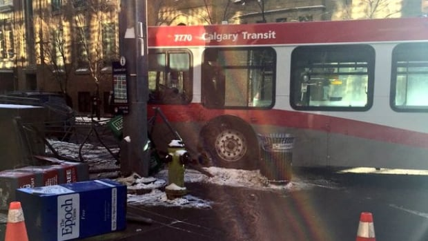 Twitter user @keightyen tweeted this photo of a city bus that collided with an SUV in Calgary's downtown core.