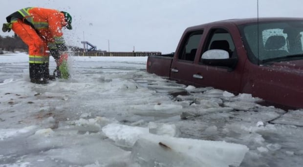Regina beach last mountain lake truck ice