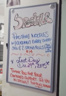 One of a Thai specials board