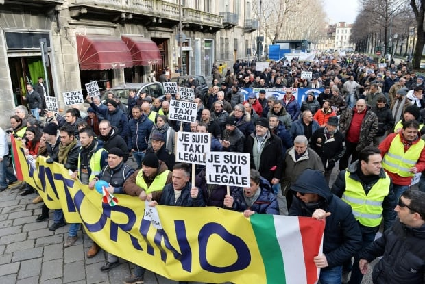 ITALY TAXI PROTEST UBER
