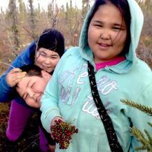 Children berry picking Inuvik
