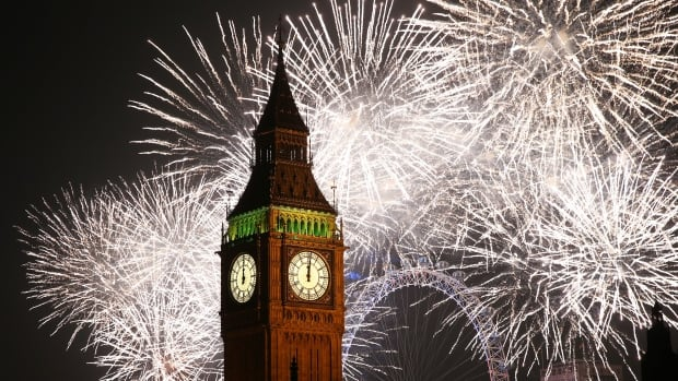 Fireworks light up the London skyline and Big Ben just after midnight on Jan. 1, 2015.