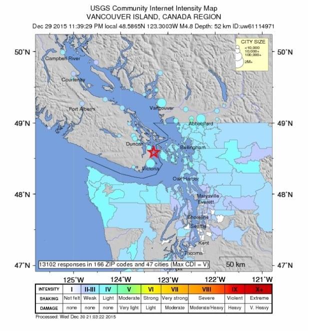 Dec 29th Victoria earthquake shake map