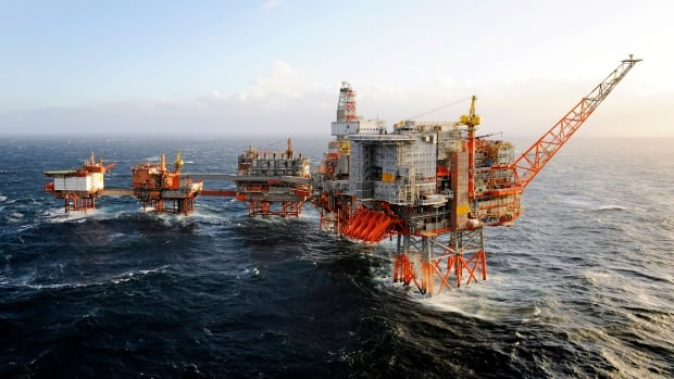 BP's North Sea Valhall oil platform complex, seen in this company photo, was evacuated over fears it could be hit by a large, unmanned barge drifting loose in rough seas.