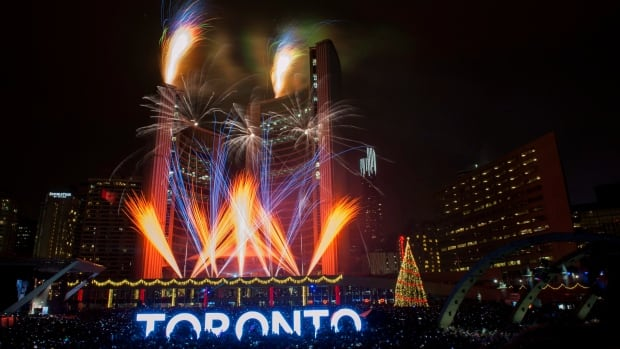 Fireworks go off to mark the beginning of 2016 during New Years Eve celebrations held at Nathan Phillips Square in Toronto.