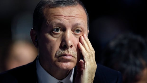 Turkish President Recep Tayyip Erdogan, seen here Nov. 30 in Paris, said Nazi Germany was a good example of how to keep a unitary state under a presidential system.