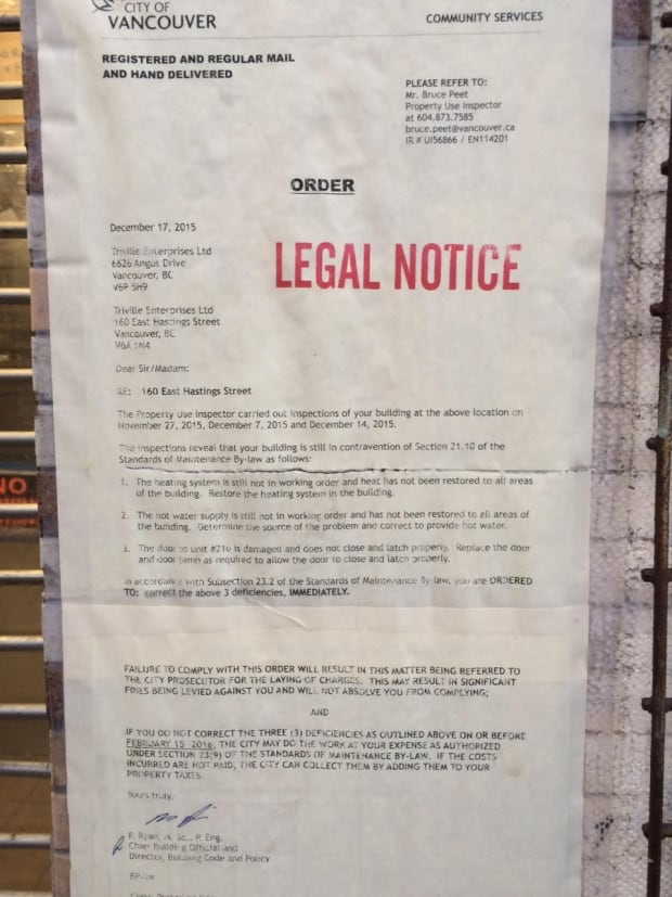 Legal Notice to Regent Hotel from City of Vancouver