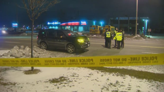 The pedestrian was struck by a vehicle near the corner of Ellesmere and Kennedy roads Sunday night.