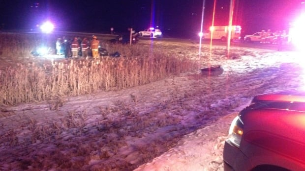 Emergency crews at a fatal crash on the corner of Highway 11 and Wanuskewin Road.