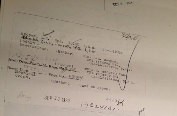 Cpl. Thomas Warburton Hooper's parents document