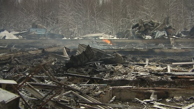 A barn holding about 50,000 ducks at Brome Lake Ducks was destroyed and continued to smoulder into Saturday.