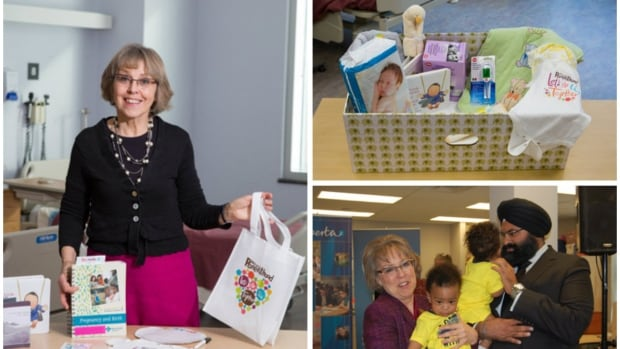 Karen Benzies, a professor in the Faculty of Nursing, shows off a Welcome to Parenthood package. The program was supported with $500,000 announced by the late Manmeet Bhullar (bottom right) when he was human services minister in 2014. Benzies' team has also recently started handing out Finnish-style baby boxes (top right) to new parents.