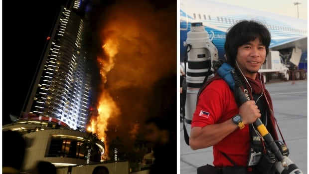 "A massive fire engulfs ""The Address"" hotel in Dubai on Dec. 31, 2015, a few hours before midnight on New Year's Eve (left). Photographer Dennis Mallari was preparing to shoot fireworks from the hotel's 48th floor. He hung from a cable outside the building for two hours before being rescued."