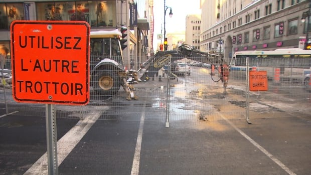 A water main at the corner of Peel and Ste-Catherine streets won't be repaired before Tuesday, four days after it ruptured.