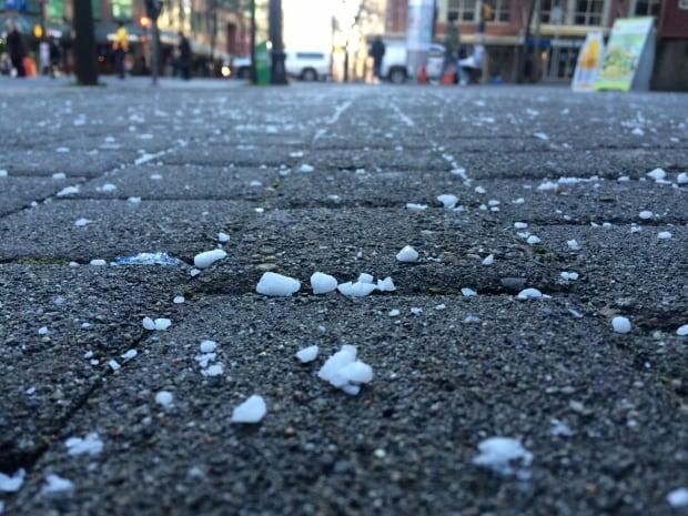 Salt on sidewalk - Vancouver