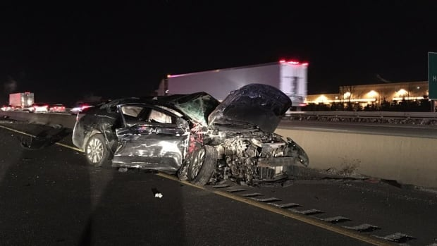 One of two vehicles involved in a serious crash on Highway 401 in Milton during Monday's rush hour.