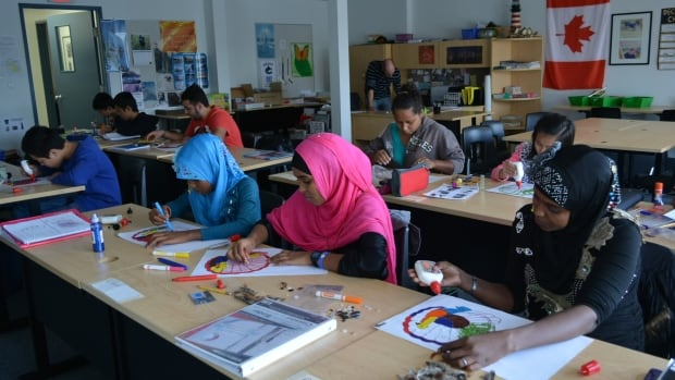 Refugee students at an art class at the Surrey Schools ELL Welcome Centre. The National Council of Canadian Muslims has released a guide for educators to fight Islamophobia after thousands of refugees came to Canada this year.