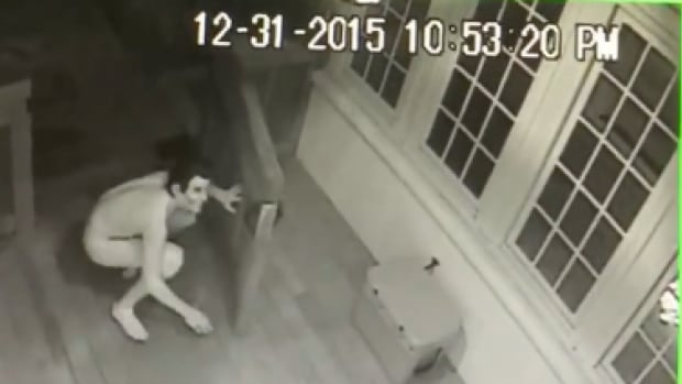 Security footage from a home near Birmingham, Ala., shows a man in nothing but a Ronald Reagan mask and one creatively-placed sock.