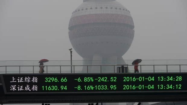 An electronic board shows the benchmark Shanghai and Shenzhen stock indexes, on a pedestrian overpass in Shanghai on Jan. 4. The Shanghai market tumbled seven per cent on Monday, leading the exchange to suspend trading and helping set off big drops at stock markets around the world.