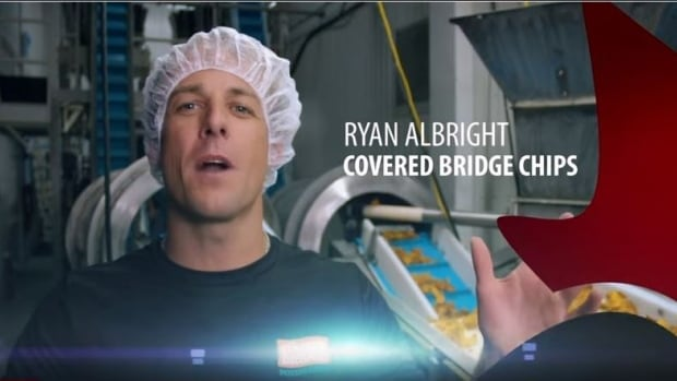 Covered Bridge Potato Chips president Ryan Albright is featured in an Opportunities New Brunswick advertisement.