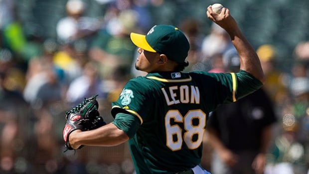 Arnold Leon made his big-league debut with Oakland last season, going 0-2 with a 4.39 earned-run average over 19 appearances.