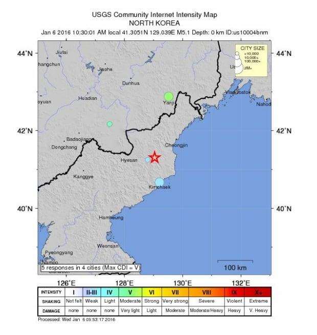 North Korea quake map