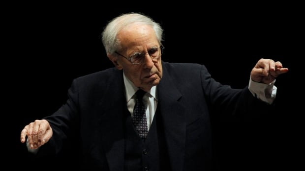 French conductor and composer Pierre Boulez, seen in 2011 conducting the Paris Orchestra at the Louvre, has died at the age of 90.