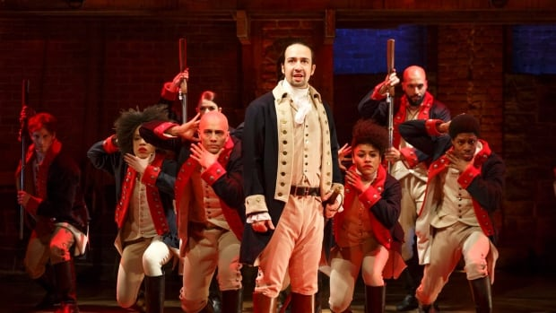 Lin-Manuel Miranda, foreground, performs with the cast of Hamilton in Manhattan. An attempt to shift the smash hit musicals' popular $10-ticket lottery online hit a major hiccup on its first day, with 50,000 hopefuls crashing the website.