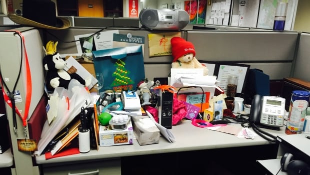 The desk of CBC traffic reporter Angela Knight after tidying up with a professional organizer. Hmmmm.