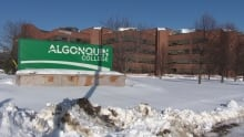 algonquin college ottawa logo building campus winter
