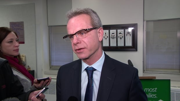 "Education Minister James Allum called concerns about Gonzaga Middle School ""genuine"" at a news conference at R.B. Russell Vocational High School in Winnipeg on Wednesday."