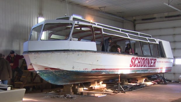 This boat, originally used at Expo '67, is being converted into a solar-powered water taxi.
