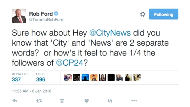 Torontonian Twitter users had a blast on Wednesday as Rob Ford began answering almost every question posed to him – with a heavy dose of sass.